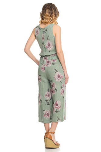 und Jumpsuit Grün am Vordertaschen Blumendruck Moretti Kordelzug Laura Verstellbarem Knopfverschluss Rücken Leinen mit EpqHF8w