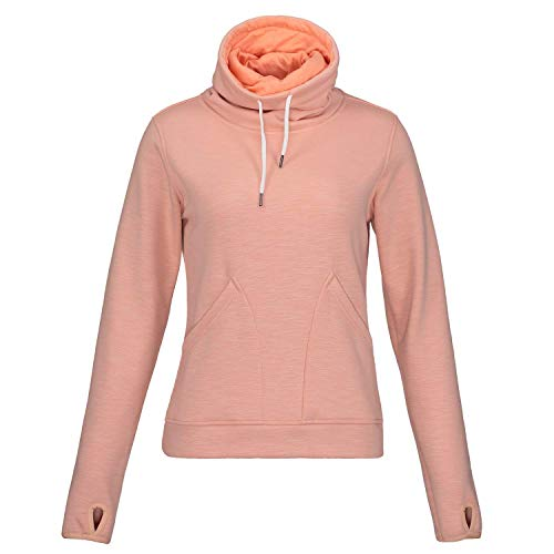 Fleece Mock Neck Pullover - Helzkor Women's Long Sleeve Fleece Lined Pullover Cowl Neck Casual Sweatshirt with Thumbholes and Pockets Pink