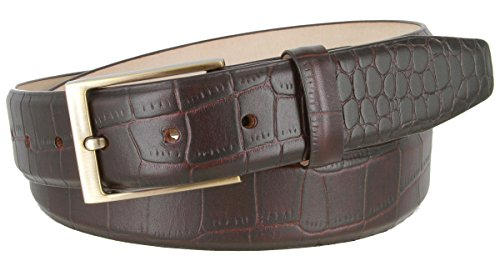 Genuine Italian Calfskin Alligator Embossed Leather Belt 1-3/8