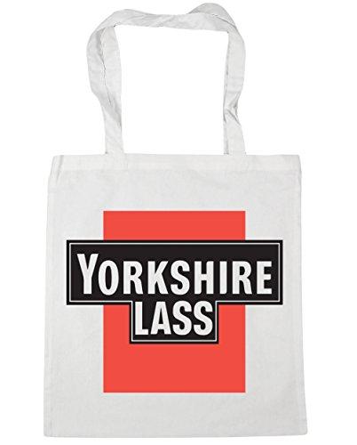 Hippowarehouse Yorkshire Girl Shopping Bag Borsa Da Spiaggia Palestra 42cm X38cm, 10 Litri - Donna, Bianco, Taglia Unica