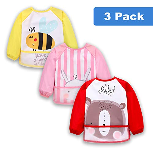 3 Pcs Long Sleeved Bib Set | Baby Waterproof Bibs with Pocket Bundle | Toddler Bib with Sleeves and Crumb Catcher | Play Smock Apron - Pack of 3 | 12-24 Months(Yellow bee, Pink Rabbit, red Bear)