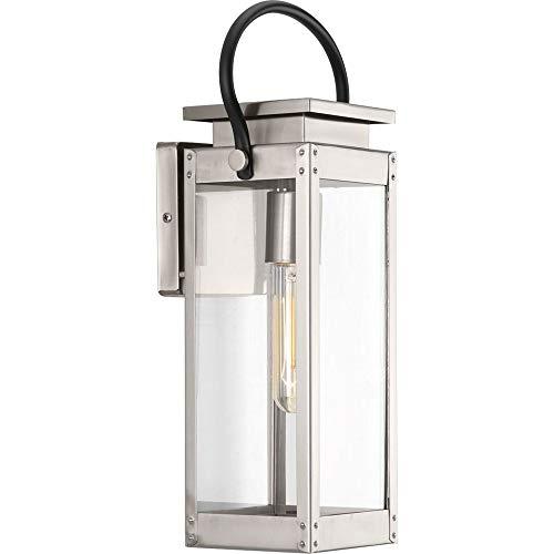 (Progress Lighting P560004-135 Union Square One-Light Small Wall Lantern, Stainless Steel )