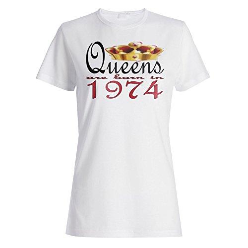 Neue Art Design Königinnen werden 1974 geboren Damen T-shirt b710f