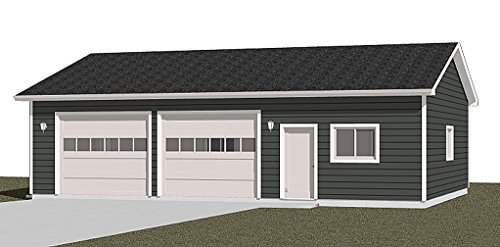 Garage Plans: Oversized Two Car Garage With Shop, Heavy Duty Series - Plan 1200-1HDR