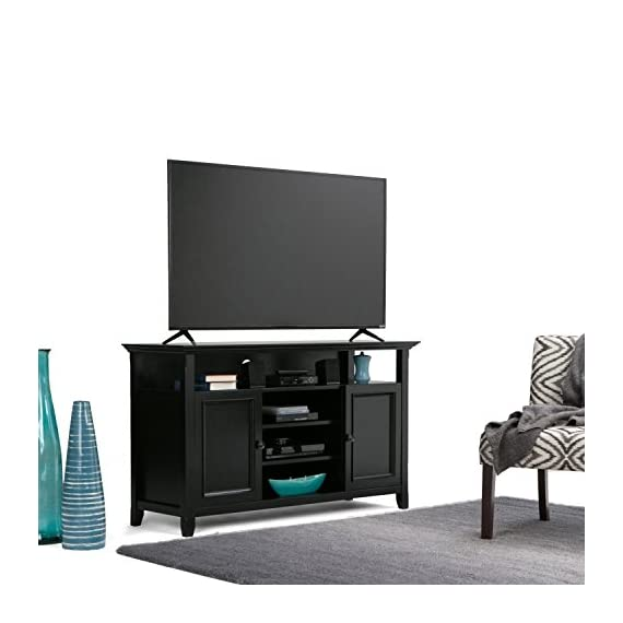 Simpli Home AXCAMH-TV-BL Amherst Solid Wood 54 inch wide Transitional TV media Stand in Black For TVs up to 60 inches - Handcrafted with care using the finest quality solid wood Hand-finished with a Rich Black Finish and a protective NC lacquer to accentuate and highlight the grain and the uniqueness of each piece of furniture Wide and Tall TV Stand is perfect for TVs up to 60 inches - tv-stands, living-room-furniture, living-room - 41f4de25ONL. SS570  -