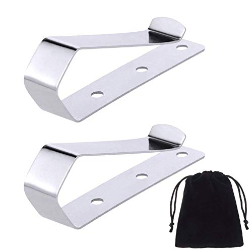 (Canomo Pack of 2 Remote Visor Clips Replacement for Garage Door Remote Openers, Silver)