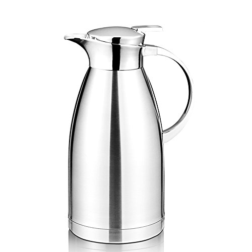 64 Oz Coffee Thermal Carafe with Lid - 18/10 Stainless Steel Coffee Thermos Carafe by Hiware - Double Walled Vacuum Carafe (Double Walled Carafe)