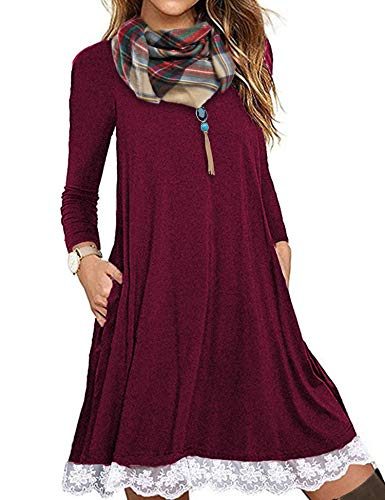 (FISOUL Women's Casual 3/4 Sleeve Lace Tunic Dress Loose T-Shirt Dress with Pockets Wine Red XL)
