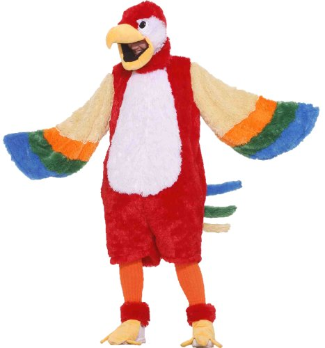 Forum Deluxe Plush Parrot Mascot Costume, Red/White, Standard]()