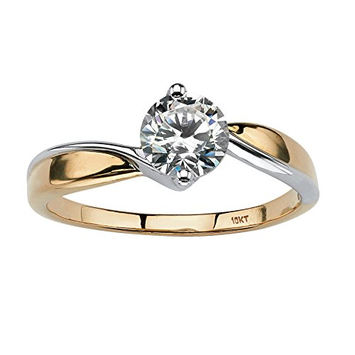 Round Cubic Zirconia Two-Tone 10k Gold Solitaire Twist Ring Size 6 ()