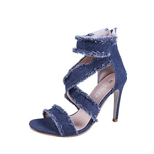 incavi donna scarpe sacchetti da sottile femminile jeans Sandali chiusura alti lampo e con e Thirty fori tacchi seven i qZ6ttFa