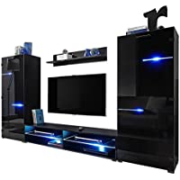 Modern Entertainment Center Wall Unit with LED Lights 70 Inch TV Stand, High Gloss Black