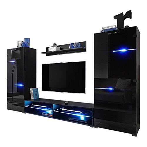 Large Entertainment Unit (Modern Entertainment Center Wall Unit with LED Lights 70 Inch TV Stand, High Gloss Black)