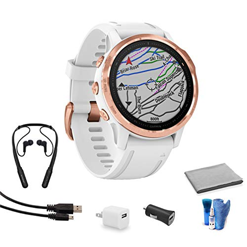 Garmin Fenix 6S Multisport GPS Smartwatch (42mm, Pro - Rose Gold-Tone and White Band) 010-02159-10 Bundle Kit with Bluetooth Earbuds