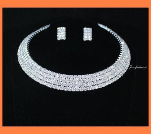 janefashions 4-row Clear Austrian Rhinestone Choker Necklace Earrings Set Party Wedding N0580 (Crystal Wedding Choker Necklace compare prices)