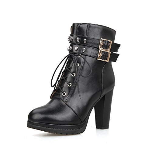 AllhqFashion Womens PU Solid Buckle Round Closed Toe High-Heels Boots Black atd4PmN