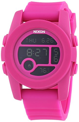 Nixon Men's A490076 Unit 40 Digital Quartz Pink Rubber Watch