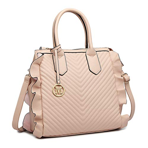 Women Capacity Quilted Large Handbag Long Bag Handle Bag with Nude Zipper Leather Body Strap Ruffle Shoulder Bag Pu Top Cross Look Lulu Miss 8qvP575