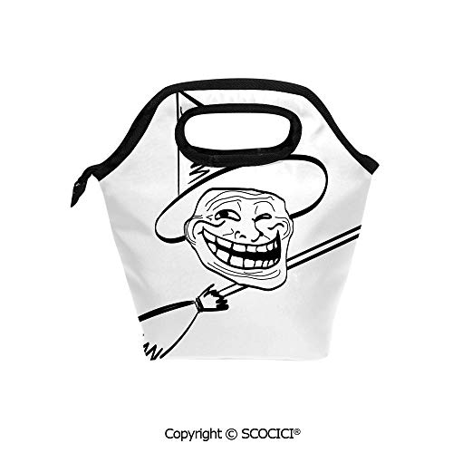 Picnic Food Insulated Cooler Tote Lunch Bag Halloween Spirit Themed Witch Guy Meme Lol Joy Spooky Avatar Artful Image Organizer Lunchbox for Women Men Kids.