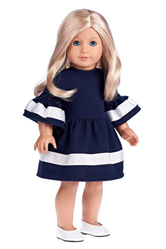 DreamWorld Collections - Navy Blue - Dress Fits 18 Inch American Girl Doll (Doll Not Included) (Shoes not Included) ()