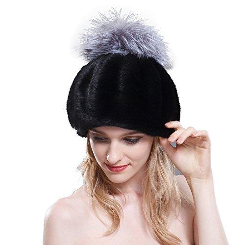 URSFUR Women's Velvet Mink Full Fur Beret Hats with Fox Pom Poms (Iron Gray)