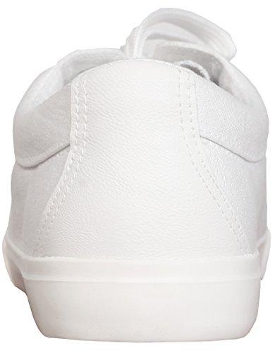 WGWJM Männer Casual Skate Schuhe Runde Kappe schnüren sich klassische Segeltuchschuhe Weiß