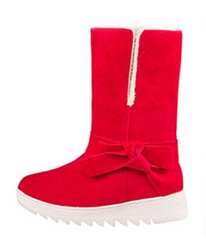 Chfso Womens Bowknot Dolce Aumento Stivali Da Neve Foderato In Pile Rosso