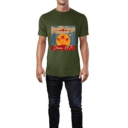 SINUS ART® Tropischer Strand mit Flugzeug Herren T-Shirts in Armee Grün Fun Shirt mit tollen Aufdruck