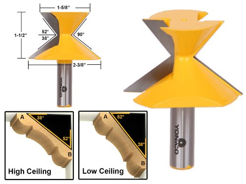 52°/38° Crown Molding Router Bit - 1/2