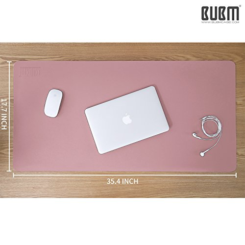 Desk Pad Mouse Pad/Mat - BUBM Large Gaming Mouse Pad Desktop Pad Protector PU Leather Laptop pad for Office and Home,Waterproof and Smooth,2 Year Warranty(35.4'' 17.7'', Pink+Silver) by BUBM (Image #4)'
