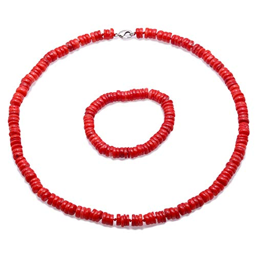 JYX Corals Jewelry Coral Necklace Set 8-9mm Button Red Sea Banboo Coral Necklace Bracelet Set