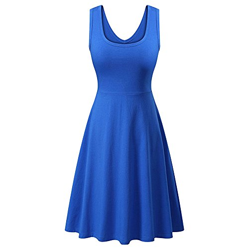 Dress for Women Sleeveless V Neck Solid Backless Pleated Swing Flowy Cocktail Dresses (M, Light Blue)