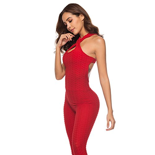 Athletic leggings, Gillberry Women's One-piece Sport Yoga Jumpsuit Running Fitness Workout Gym Tight Pants (Red, M)