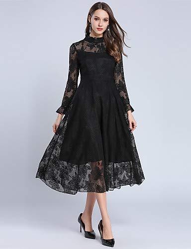Yfltz Line Encaje De Chic Mujer Black Street Color Liso Swing Vintage A Vestido rOq01wr