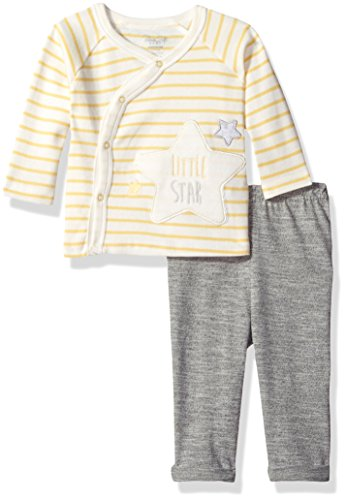 Rene Rofe Baby Baby 2 Piece Neutral Snap Front Cardigan Set, Yellow Stripes, 0-3 Months - Neutral Set