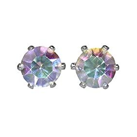 6 Pairs of Surgical Stainless Steel Aurora Borealis Crystal CZ Stud Earrings 3,4,5,6,7 & 8 mm
