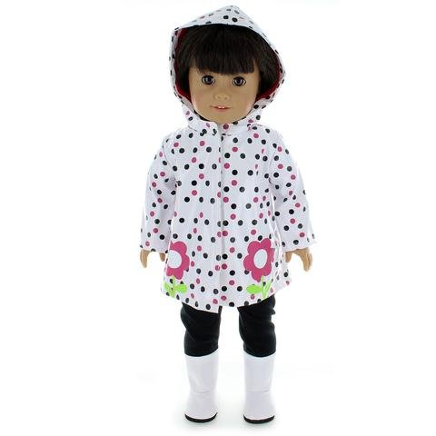 Doll Clothes Rain Coat Outfit with Shoes and Pants - Fits American Girl and other 18 inch dolls