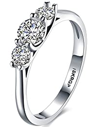 Womens Jewelry Classic Wedding Engagement Bands Created Tripe Stone Promise Rings for Her - 18K White Gold Plated - Vintage Series FB124