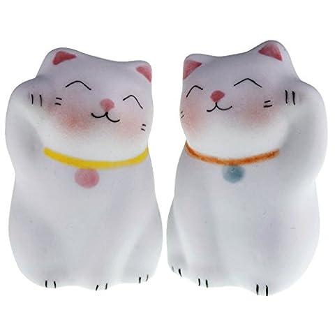 Lucky Cat Neko dolls Handmade Painted Ceramic Japanese Chinese by Tada-Tada (2 Pcs, Blue, Pink (Mario Bedroom Decor Furniture)