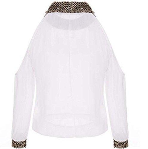018 Femmes en Mousseline de Soie Bretelles Hors paule Crop Top Blouse Shirt avec Choker XIAOXAIO (Couleur : Blanc, Taille : L)