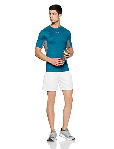 Under Armour Men's HeatGear Armour Printed Short Sleeve Compression Shirt,Bayou Blue (953)/Graphite, Small by Under Armour (Image #4)