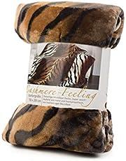 Gözze Woon- en knuffeldeken, kasjmier-feeling, 150 x 200 cm, koninkstiger, bruin, 40008-72-5020
