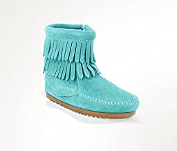 Minnetonka 2296 Childrens Double Fringe Side Zip Boot, Turquoise - 8M