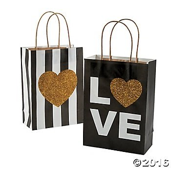 Amazon.com: 12 Black and Gold Glitter Wedding Craft/Gift Bags ...