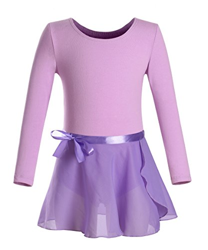 DANSHOW Girls Team Basic Long Sleeve Leotard with Skirt Kid Dance Ballet Tutu Dress (6-8, Purple)