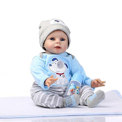 NPKDOLL Renacer La Muñeca De Vinilo Silicona Suave 22 Pulgadas 55 Centímetro Magnética Boca Realista Niño Niña Perro Azul Del Juguete Reborn Doll A1ES