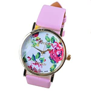 2014 Susenstore Fashion Women Leather Rose Flower Watch Quartz Watches Gift (Pink)