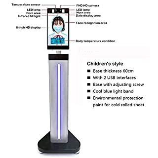 YUN Earth@ Face Recognition Temperature Measurement System Non-Contact Infrared Thermometer Fit for Entrance and Exit of Office,Industry and Station - Includes Ground Stand