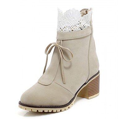 Heart&M Damen Schuhe Kunstleder Frühling Winter Modische Stiefel Stiefel Blockabsatz Runde Zehe Booties Stiefeletten Reißverschluss Für Normal red