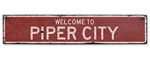 HarrodxBOX Welcome to Piper City Vintage US Piper City, Illinois Distressed Custom City Sign Metal Tin Door Sign for Boys Girls Quality Aluminum Sign
